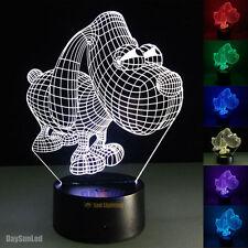 3D Illusion Led Night Lamp Big Eye Doggy Novelty Visual 7 Colors LED Table Lamp