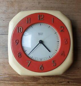 'Smiths' Cream & Red Bakelite 1950's '8 day' Kitchen Wall Clock - Working - Rare