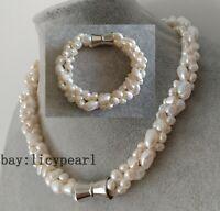 3 Stränge 6-11 mm weiß Barock Süßwasser- Perle Halskette & Armband set
