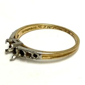 Tiffany & Co 1940's 18K Yellow Gold/Platinum Engagement Ring Mounting Only
