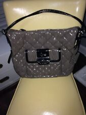 Guess Large Grey And Black Patent Satchel