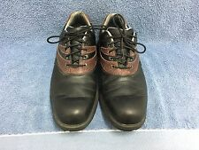 ETONIC MEN'S SOFT SPIKE GOLF SHOES SIZE 9M BLACK & BROWN LEATHER GUC