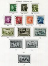 """1950-1952 Canada.  Part set of 10 stamps USED.  """"G"""" optd.  SG 0178/0187."""