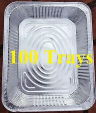 100 x Aluminum Foil Trays BBQ Disposable Roasting takeaway Oven Baking Party New