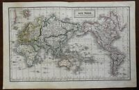 World Map on Mercator's Projection 1851 Franz Biller engraved map hand color