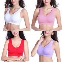 Women Seamless Underwear Fitness Yoga Sports Bra Workout Crop Top Vest Plus Size