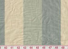 100% Silk Dupioni Blue Stripe Drapery Fabric American Silk Mills Poori Seaglass