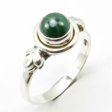 925 Sterling Silver Round Malachite Ring Size 7.5 Face Width 9 mm New Stone
