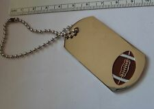 "6"" bead chain Football Engravable ID Luggage Sports bag Tag Keyring Base Metal"