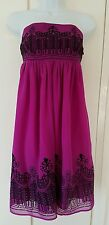 Monsoon Fusion Purple Embroidered Bandeau Dress UK 8 NEW WITH TAGS