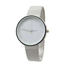 White Simple Modern Dial Silver Stainless Steel Mesh Womens Classic Wrist Watch