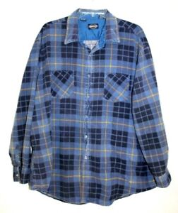 VTG 80s Towncraft Flannel Plaid Shirt Size 2XL LS Workwear Indie Thin Blue