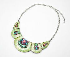 CC898 * Collier Plastron Arrondi Motif Fleurs Pierres Strass Mode Femme - Vert