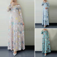 Womens Long Sleeve Crew Neck Floral Printed Party Gown Holiday Travel Maxi Dress