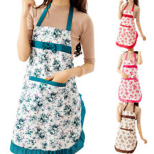 Women Floral Waterproof Kitchen Bib Aprons Chef Cooking Baking Restaurant Apron