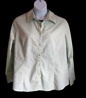 Light Green Shirt Plus Size 18W 20W 1X Blouse LANE BRYANT Stretch Top Casual