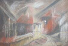 Vintage pastel houses landscape drawing