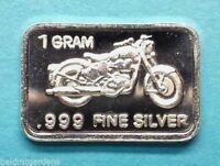 "1 Gram .999 Fine Solid Silver Bullion Art-Bar: "" MOTORCYCLE """