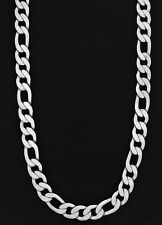 Solid Figaro Chain Men's Silver Plated