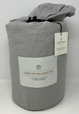 Hearth & Hand with Magnolia Linen-Cotton 4Pc Sheet Set Gray Cking - (B To)