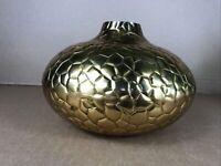 Gold Brass METAL Decorative VASE Geometric Designer 25x 18cm