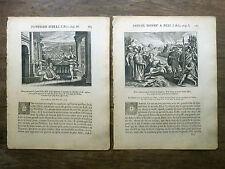 LOT 2 GRAVURES 18e s. Le grand prêtre Héli BIBLE Sacy MERIAN 1770