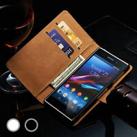 Luxury Genuine Real Leather Wallet Stand Case Cover for Sony Xperia Phones