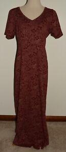 Eddie Bauer Maxi Dress Large Tall Floral Short Sleeve V-Neck