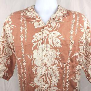 Harley Davidson Hawaiian Mens XL Linen Burnt Orange Floral Button Shirt Aloha