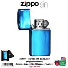 Zippo Iridescent Sapphire Lighter, Slim, Blue, Genuine Windproof #20494