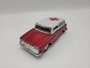 Vintage 1960s Tin/Pressed Steel Ambulance Emergency Toy Friction Car - China