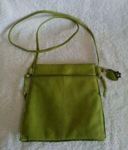 "Hobo Chala Lime Green Leather Crossbody Bag 9"" X 9"" X 3"""