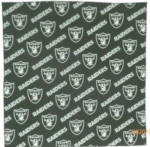 "Bandanna for Oakland Raiders on Black 100% Cotton #126 Handmade 22"" X 22"""