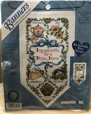 Vintage Dimensions Cross Stitch Kit Hanging Banner Happy Home Ingredients 72557