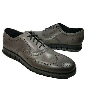 Cole Haan ZeroGrand Mens Wingtip Oxfords gray leather perforated shoes sz 10 new