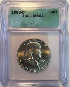 1953 D FRANKLIN HALF DOLLAR ICG MS64