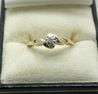 Pretty 9 Carat Gold Small Diamond Solitaire Ring Size P