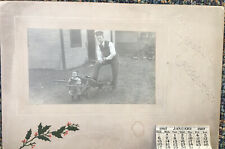 Antique Seasons Greeting Picture Calendar 1907 Of Young Man And Toddler