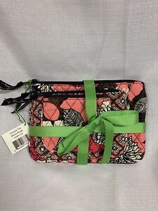 Vera Bradley Mocha Rouge Cosmetic Trio 3 Bags for Purse Tote Travel NWT