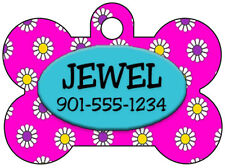 Pet Id Tag for Dogs & Cats, Flowers Personalized w/ Name & Number