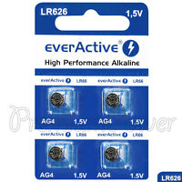 4 x everActive AG4 LR66 Alkaline batteries LR626 L626 177 1.5V GREAT VALUE