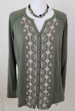 Style &Co Peasant Top Western Trail Med Olive Plus Sz 1X Embroidered NWT $49.50