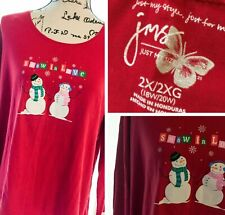NWT JUST MY SIZE 2X  L//S COTTON GLITZY  SNOWMEN GRAPHIC TEE TOP RED