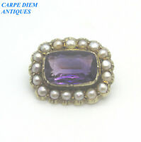 VICTORIAN BEAUTIFUL 8.47CT PURPLE AMETHYST & SEED PEARL SOLID 9CT GOLD BROOCH