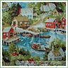 BonEful Fabric FQ Cotton Town House Sail Boat Seagull Bird Beach Bike Water Sea