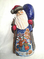 Unique ART WORK Russian solid wood Hand Carved Painted SANTA Fedoskino Style
