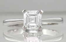 Diamond Platinum Solitaire Engagement Ring Asscher Cut Certified D IF VG 0.50ct