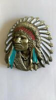 Vintage American Native Indian Chief Feather Western Badge Alloy New Belt Buckle