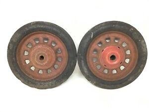 "Vintage Garton Wheels 10x1.7 5 9.5"" Diameter Wagon Pedal Tractor Artillery Style"