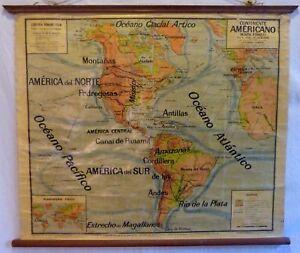 VINTAGE ROLL SCHOOL MAP AMERICA NORTH SOUTH ANTIQUE POSTER 122x102Cm Circa 1950